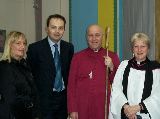 Jenny Cowan, Matthew Slade, Bishop Stephen and Rev. Julia Murphy